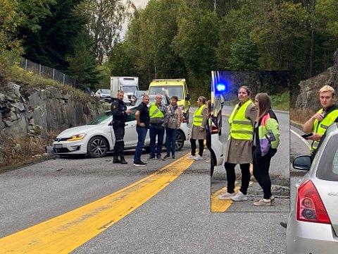 DRAMATISK: Anita Feyling så at føreren mistet kontroll på bilen og traff fjellveggen. Hun nølte ikke med å ta kontroll, og mener sjåføren hadde englevakt.