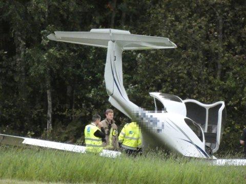 HAVNET I GRESSET: Pilotstudenten havnet i gresset. Politiet mistenkte ruskjøring.