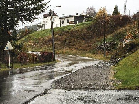 SKOLEVEI: Før gikk skolebarna gjennom boligfeltene på oversiden, men etter at det fine fortauet ble anlagt langs Lisleheradveien, går de her