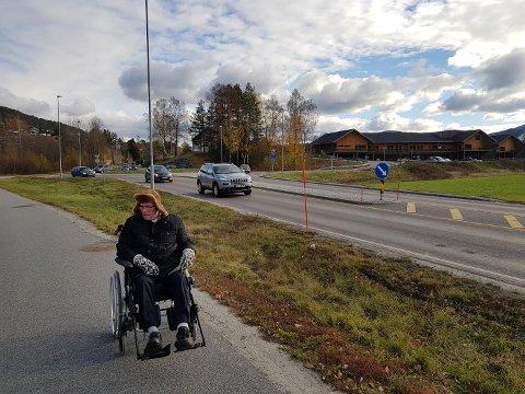 IKKE GREIT: - Den nye institusjonen ligger avskåret fra gang- og sykkelstien og gjør det krevende å ta med de eldre på tur på den fine, flate gang- og sykkelstien, mener Arne Mellingsæter.