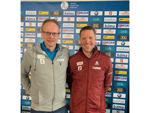 INN: Håkon Engstu (til høyre) ble i dag valgt inn som andre varamedlem til styret i Norges skiskytterforbund. Her sammen med den nyvalgte lederen Arne Horgen.