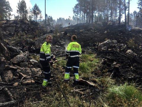 ETTERSLUKKING: John Andreassen og Thomas Johannessen har begynt med etterslukking av brannen på Elgsjø