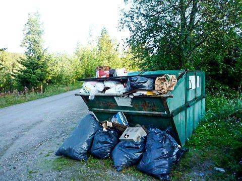 KLAGER: Tidligere år skrev vi flere ganger om overfylte søppelcontainer i hytteområder. Her et bilde fra situasjonen ved Aarhus bru i 2009, og en container som hadde blitt tømt bare to uker tidligere.