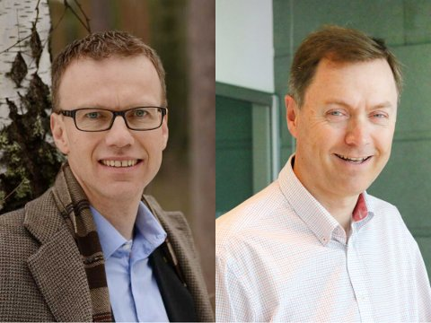 Erik Lahnstein, administrerende direktør i Norges Skogeierforbund og  Knut E Sunde, direktør i Norsk Industri.