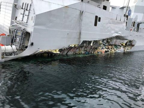 Skadene på KNM Helge Ingstad forårsaket under kollisisjonen med tankskipet Sola tidlig torsdag morgen.