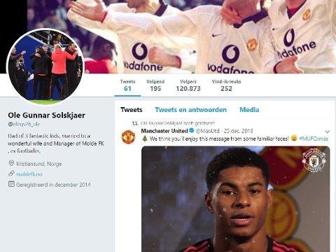 Slik så Ole Gunnar Solskjærs Twitter-konto ut før slettingen.