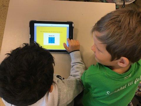 Elever jobber med appen BookCreator. De lager bok om symmetri.