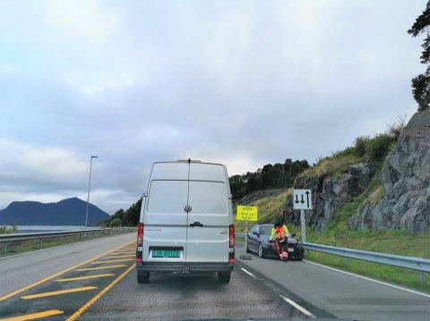 Det har dannet seg en del kø ved Freifjordtunnelen i morgentimene.