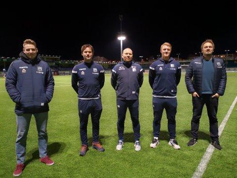 Eirik Andersen (fra venstre), Anders Særvold, Ola Bø Nyland, Eirik Ranheim og Espen Næss er trenerstaben for G16 og G19.