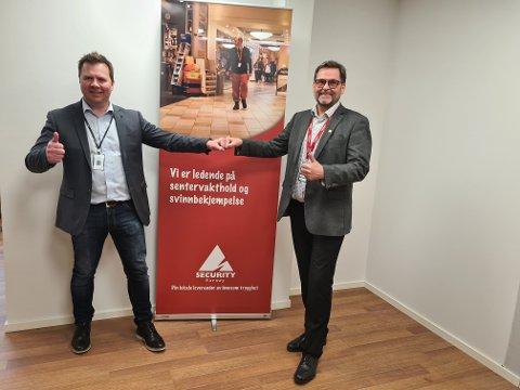Lars Roger Fløttum (t.v), Regionsdiriktør i Avarn Security og daglig leder i Norway Security, Robert O. Glærum sier de skal sørge for at kundene får en positiv opplevelse når Avarn blir deres nye sikkerhetsleverandør.