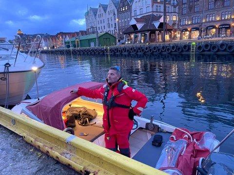 Her er Tom Inge Karlsen klar for avreise fra Bergen.