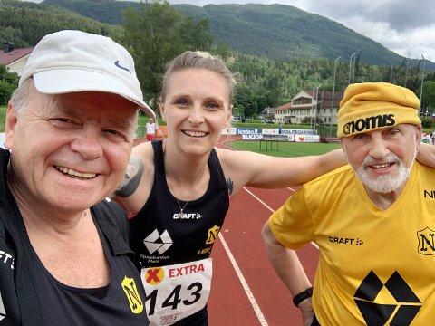 Katarzyna Kwit vant tre gull i veteran-NM. Også Tron Kjønnø (til venstre) og Henry Opland dro hjem fra Førde med medaljer.