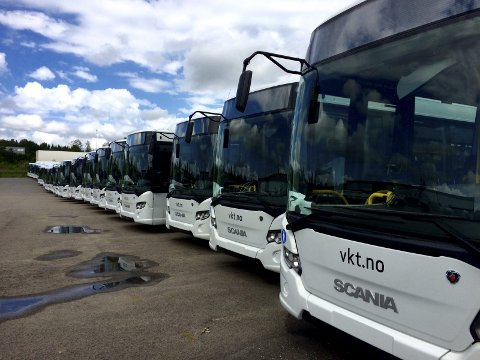 GASS: Fra i sommer ble disse nye gassbussene satt i trafikk, og utslippene er vesentlig redusert. Foto: Jon Cato Landsverk Bildetekst