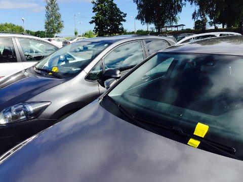 IKKE KULT: Det var mye gult å se på de beste parkeringsplassene ved høyskolen i dag. Bilførerne har fått bøter fordi de har parkert på plasser for kompiskjørere, uten å ha med en passasjer i bilen.