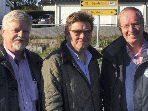 STØRST: Frp og Bent Moldvær (t.v.) går mest frem, Arbeiderpartiet og Per Martin Aamodt er fortsatt Tønsbergs største parti, men ligger ikke an til å kunne fravriste Høyre og Petter Berg ordførermakten.