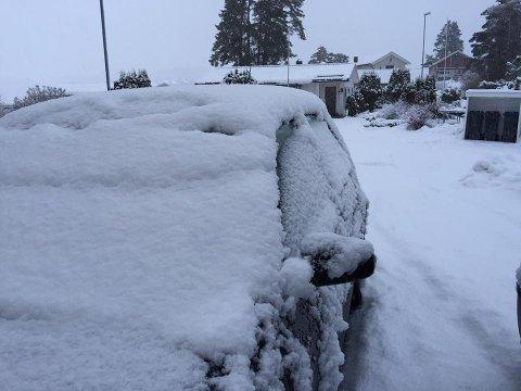 SNØ: Tirsdag morgen kan det se slik ut rundt om i Vestfold.