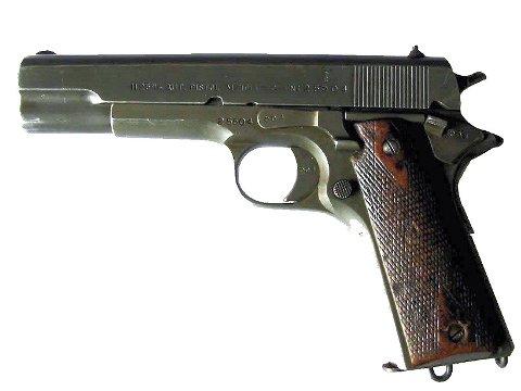 STJAL PISTOL: Mannen stjal en plombert «Kongsberg-Colt», som er en norskprodusert versjon av den amerikanske Colt M1911-pistolen.
