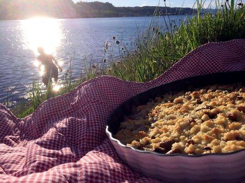 PAI PÅ TUR: I helgen var det nydelig vær. Vi testet vår aller første parkslirekne-pai i kveldssola ved Oslofjorden. Både kveldssol ved Oslofjorden og pai med parkslirekne får våre varmeste anbefalinger!