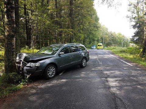 Bilen smalt rett inn i et tra på Rauanvien søndag ettermiddag.