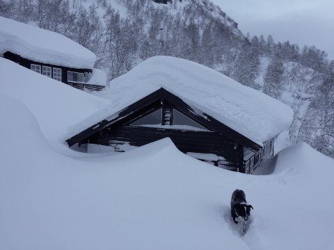 KAN BLI TUNGT: Hus- og hytteeiere har ansvaret for å fjerne snø fra tak, terrasser og vegger.