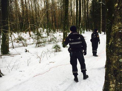 LETER: Politiet leter søndag ettermiddag etter en eldre kvinne i Teieskogen.