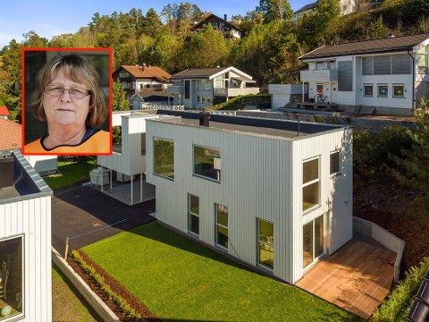 – CONTAINERHAVN: Merethe Dahl reagerer kraftig på de nye nabohusene hun omtaler som containere.