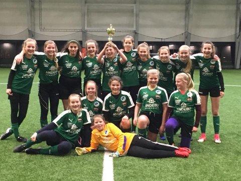 JUBLET: Stokkes jenter 13/14-lag som vant Flint Meny Cup i Fix Arena lørdag.