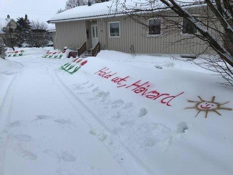 HOLD UT! Beskjed er klar, nabo Håvard får støttende melding fra naboen.