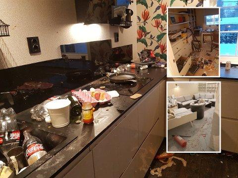 «TRASHING» Disse bildene er fra hjemmet til en familie på Romerike som opplevde at ungdommer tok seg inn og raserte huset mens de var på ferie.