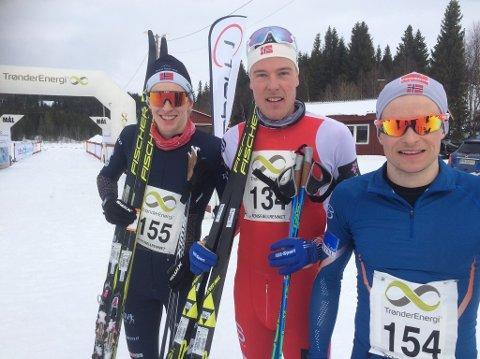 TOPP TRE: Eirik Mysen til venstre sammen med vinneren Magnus Stensås og Eirik Telebond som ble nummer tre.