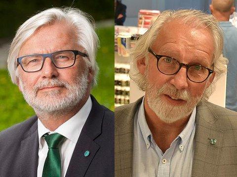 Jon Gunnes (til venstre) og Carl-Erik Grimstad, stortingsrepresentanter for Venstre