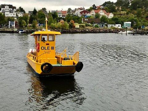 GRATIS FERJE: Ferjen er liten og gul og går hver dag mellom Husøy og Husvik.