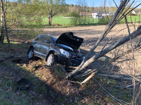 UTFORKJØRING: En kvinne ble kjørt til sykehus etter at hun kjørte ut og krasjet med et tre langs Østveien.