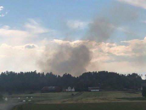 SKOGBRANN: Det brenner i skogen nord for Goksjø.