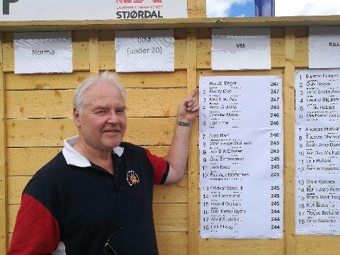 PÅ TOPP: Harald Enger foran resultatlisten etter sin egen skyting.