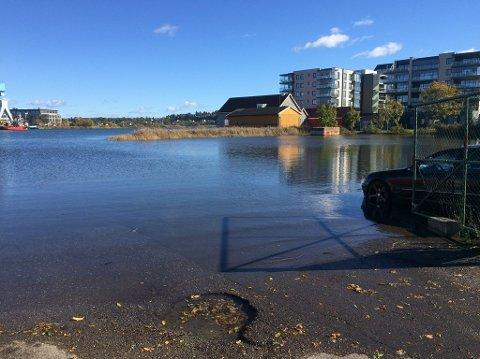 STORMFLO: En bil sto parkert i vannet på Ørsnes på Nøtterøy lørdag formiddag. Det er meldt høyvann fram til lørdag kveld.