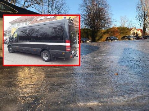 STO PÅ GLATTA: Sjølystsenterets buss (innfelt) måtte melde pass på det ekstremt glatte føret.