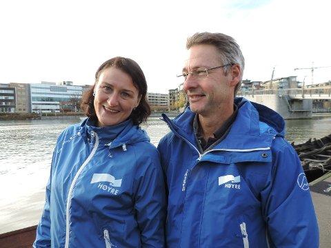 SPARE: Lise Mandal og Tom Mello i Tønsberg og Færder Høyre vil finne løsninger for å få ned kostnadene på bypakke-prosjektet. Bildet er tatt i en annen sammenheng.