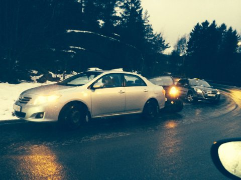 UNDERKJØLT REGN: Dert ventes svært vanskelige kjøreforhold fra og med mandag ettermiddag. Dette bildet er fra et tidligere uhell.