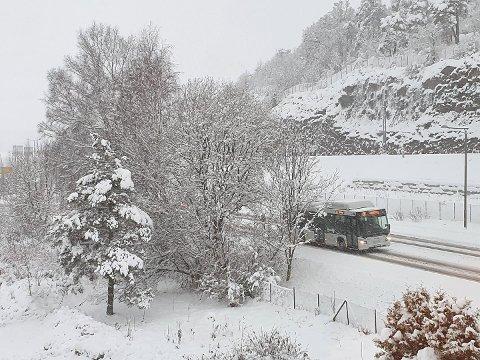 KOM BRÅTT PÅ: Ikke alle var forberedt på snøen som falt i helgen og på mandag. I Færder måtte minst to bussruter innstilles i noen timer på grunn av manglende brøyting.