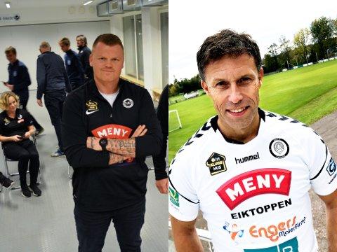 Flint-trener John Arne Riise og FK Eik-trener Ronny Johnsen skal spille en enkel serie i år.