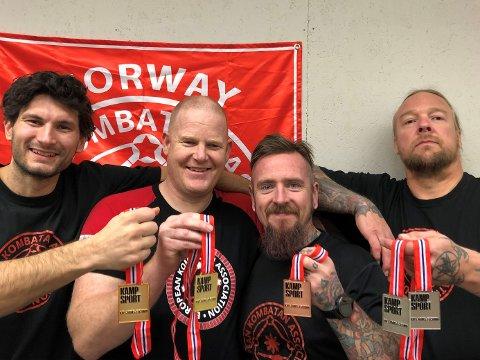 MEDALJER: Fra venstre Denniz Skontorp (gull), Henning Hansen (gull), Fredrik Bakke-Ortiz (bronse) og Vidar Jensen (2xsølv).