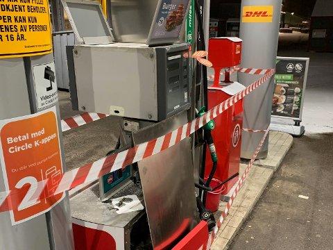 ØDELAGT: Denne bensinpumpa er ute av drift. Circle K venter på en ny, som leveres mot slutten av januar.