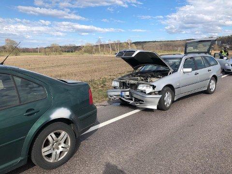 KOLLIDERTE: Trafikkulykke på Semslinna.