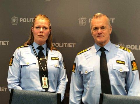 TAKKER FOR TIPS: – Vi mener vi har pågrepet riktig gjerningsmann, og vil takke alle som har engasjert seg og meldt inn tips i saken, sier politiadvokat Lise Dahlhaug og politistasjonssjef Øystein Holt.