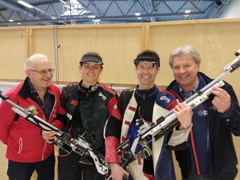 NM-SUKSESS: Nøtterøy-skyttere i NM. Fra venstre Bjørn Egil Hansen, Jeanette Hegg Duestad, Nils Petter Håkedal og Tor Nystuen.