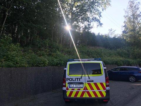 SKOGBRANN: Brannen skal ha vært i skogen ved Granveien på Nøtterøy.