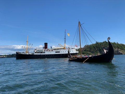 Her er skipet Rogaland i Tønsberg på sin første av mange turer denne uken.