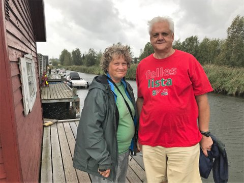 NEI TIL BYGGING: Tone Kalheim og Jørn Magdahl fra Felleslista Rødt/SV er sterkt imot den planlagte utbyggingen ved Bruabekken.