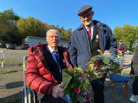 ENDELIG: Sverre Simonsen (95) og Sverre Ruud (97) fikk endelig en deltakermedalje for sin innsats i motstandsorganisasjonen Milorg under 2. verdenskrig.